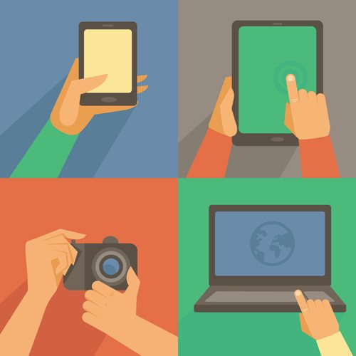 Vector set of flat icons - mobile phone, laptop, digital camera, tablet pc